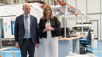 Susana Díaz y Pierre Moscovici visitan CATEC, el centro avanzado de tecnologías aeroespaciales más evolucionado de España