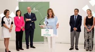 La presidenta de la Junta, en declaraciones en la Ciudad de la Justicia de Córdoba.
