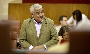 El consejero de Economía, durante el pleno.