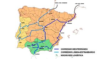 Los corredores ferroviarios en España y Portugal.