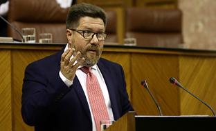 Sánchez Haro, en la tribuna del Parlamento, durante el Pleno.