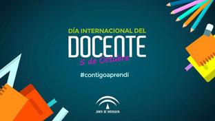 Cartel del Día Internacional del Docente an Andalucía, con el lema \u0027Contigo Aprendí\u0027.