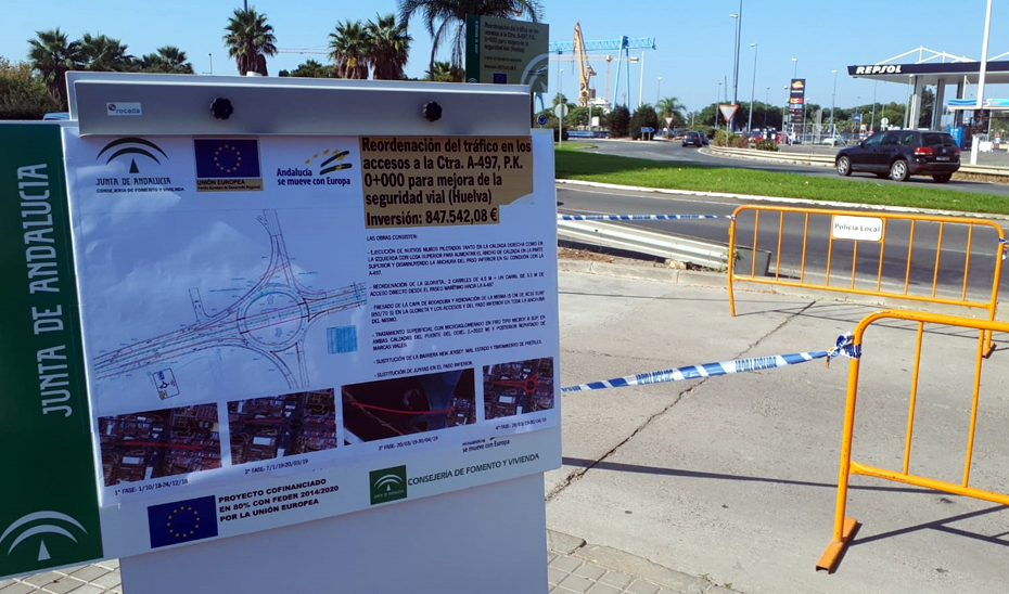Las obras de reordenación y mejora de los accesos al puente del Odiel cuentan con una inversión de 874.000 euros.