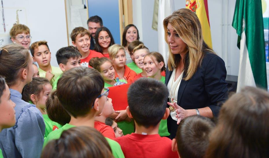 Intervención de la presidenta de la Junta de Andalucía durante la visita al CEIP San Sebastián de Archidona