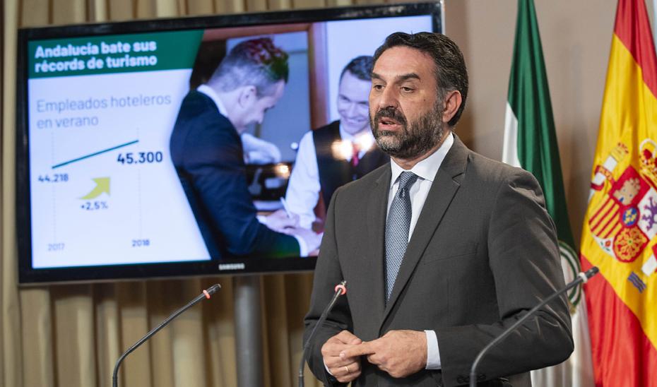 Fernández resalta que Andalucía supera en verano sus mejores cifras turísticas, con 7,9 millones de viajeros alojados y 25,3 de estancias