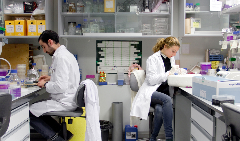 Dos investigadores en un centro de investigación.