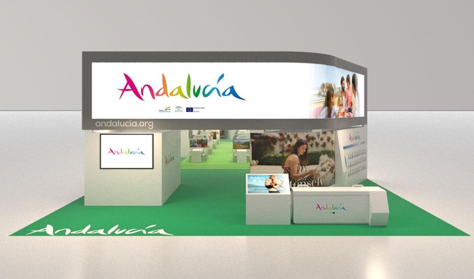 Recreación virtual del Stand de Andalucía en la feria turística Word Travel Market de Londres.