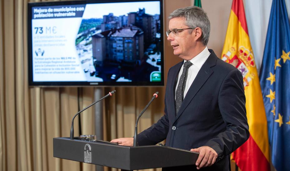 Blanco explica la concesión de 73 millones a 12 entidades locales para intervenciones en zonas desfavorecidas