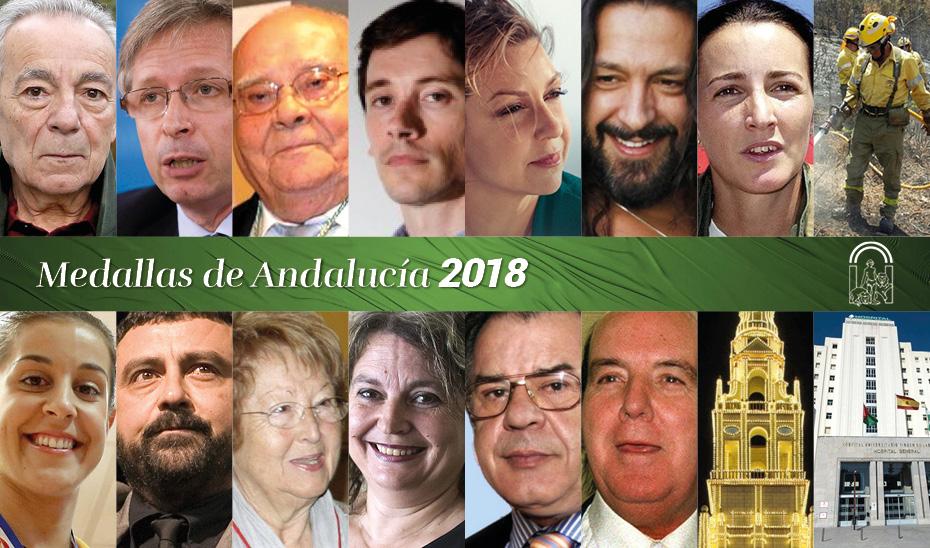 Galardonados con las distinciones de Hijo Predilecto y Medallas de Andalucía 2018.