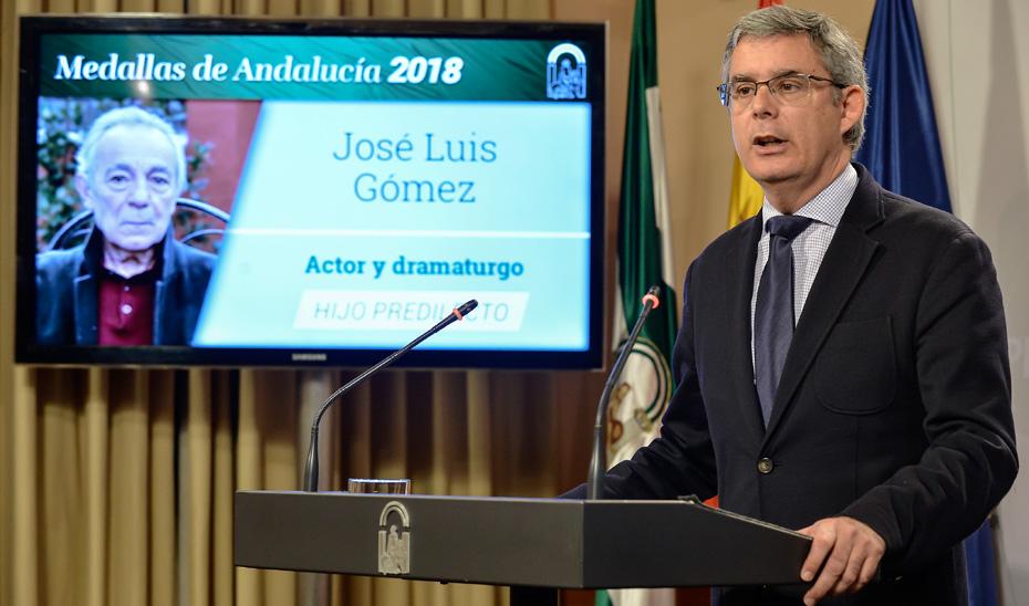 Blanco anuncia las distinciones de Hijos Predilectos y Medallas de Andalucía 2018