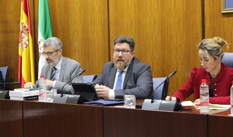 El consejero de Agricultura, Pesca y Desarrollo Rural, Rodrigo Sánchez Haro, durante su intervención en Comisión Parlamentaria.