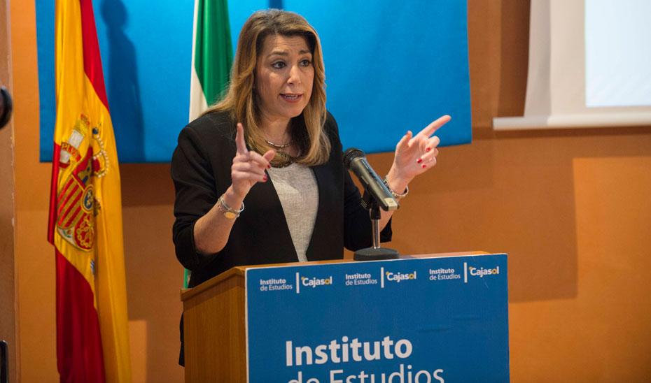 Intervención de Díaz en la jornada 'Sostenibilidad en la empresa y la competitividad', organizada por la Junta y Cajasol