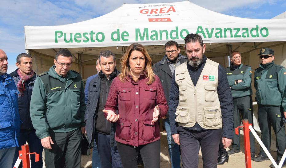 Visita de Susana Díaz al Puesto de Mando Avanzado de Guillena (Sevilla)