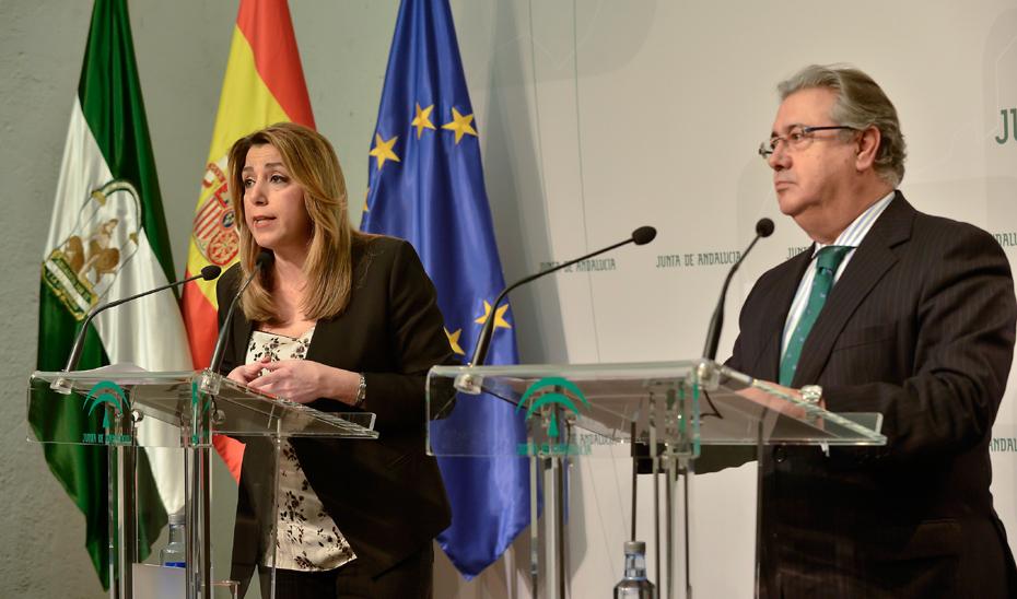 Comparecencia informativa (íntegra) de Susana Díaz y el ministro del Interior tras la reunión sobre asuntos de seguiridad
