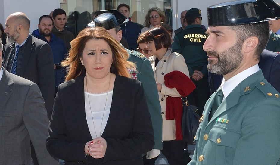 Susana Díaz asiste al funeral del cabo primero de la Guardia Civil fallecido en Guillena
