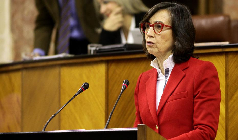 Comparecencia de la consejera de Justicia e Interior, Rosa Aguilar, en el Parlamento.