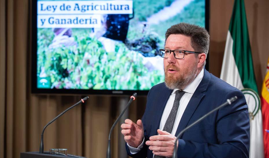 Rodrigo Sánchez Haro, durante su intervención ante los medios, tras la aprobación del proyecto de Ley de Agricultura y Ganadería de Andalucía.