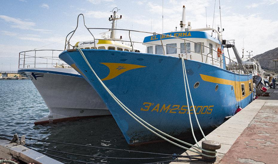 Barcos pesqueros amarrados en el puerto de Almería.