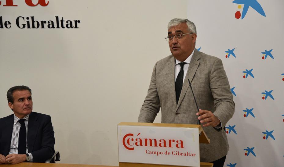 Antonio Ramírez de Arellano, durante la conferencia pronunciada en el Desayuno empresarial organizada por la Cámara de Comercio del Campo de Gibraltar.