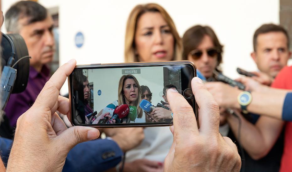 """Susana Díaz rechaza la """"brutal subida de aranceles de Trump a la aceituna negra"""""""