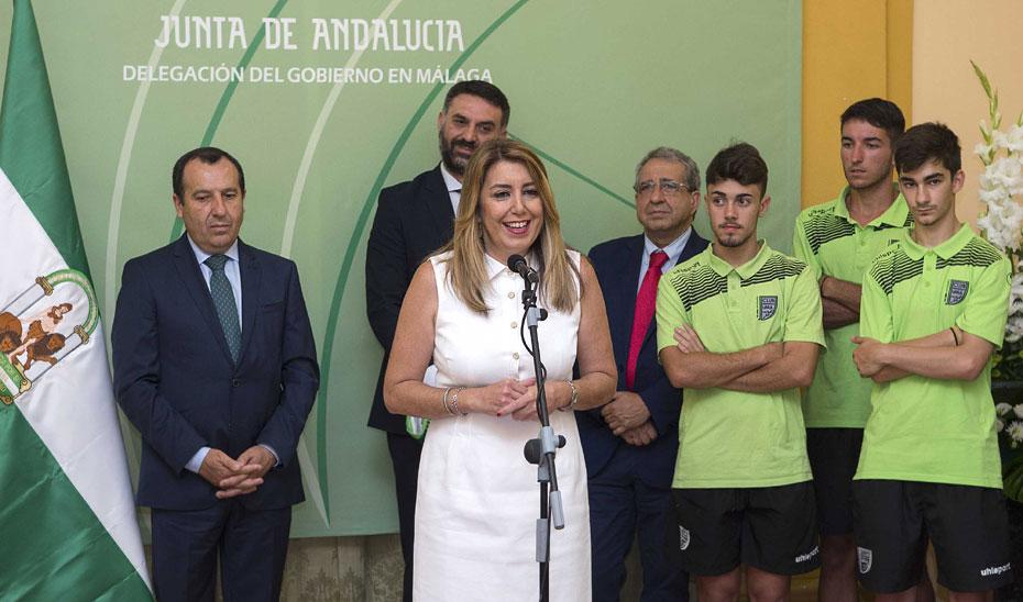 Intervención de Susana Díaz en la recepción al Málaga CF femenimo de fútbol y el UMA Antequera de fútbol sala