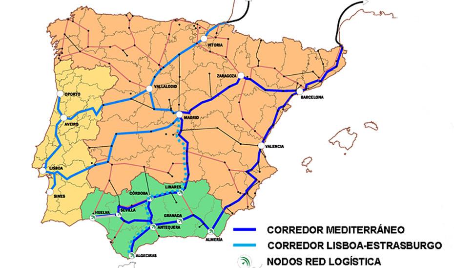 Los corredores Atlántico y Mediterráneo tienen como vértice el puerto de Algeciras.