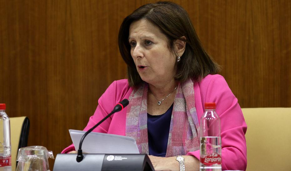 María José Sánchez Rubio, durante la Comisión de Igualdad y Políticas Sociales.