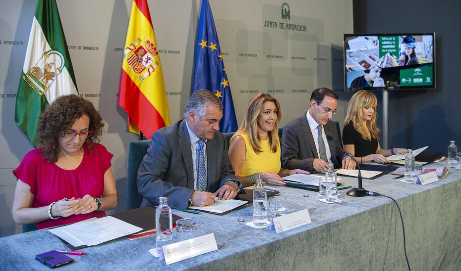 Imagen de la firma del nuevo acuerdo de la Junta con sindicatos y empresa.