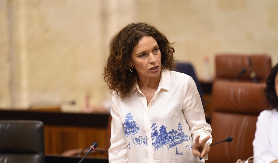 La consejera de Conocimiento, Investigación y Universidad, Lina Gálvez, durante su intervención en el Parlamento andaluz.