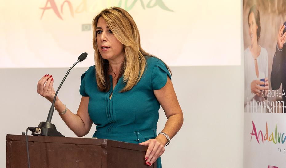 Intervención de Susana Díaz presentado la campaña 'Andalucía, Paisajes con Sabor' en Isla Mayor (Sevilla)