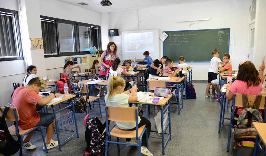 Niños en un aula de Primaria.