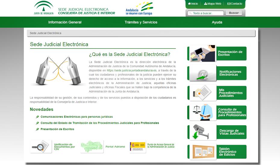 Sede judicial electrónica de Andalucía.