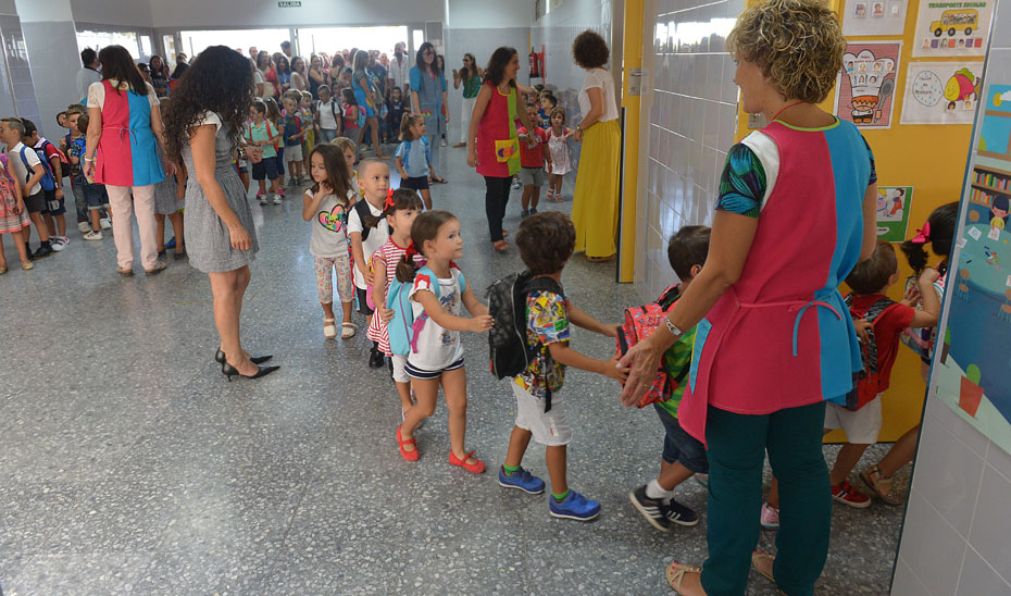 Grupos de alumnos de infantil organizados en fila para entrar en clase.