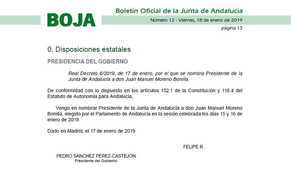 El Real Decreto 6/2019, publicado en BOJA.