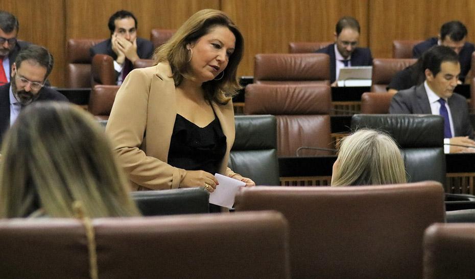 La consejera de Agricultura, Ganadería, Pesca y Desarrollo Sostenible, Carmen Crespo, en el Parlamento andaluz.
