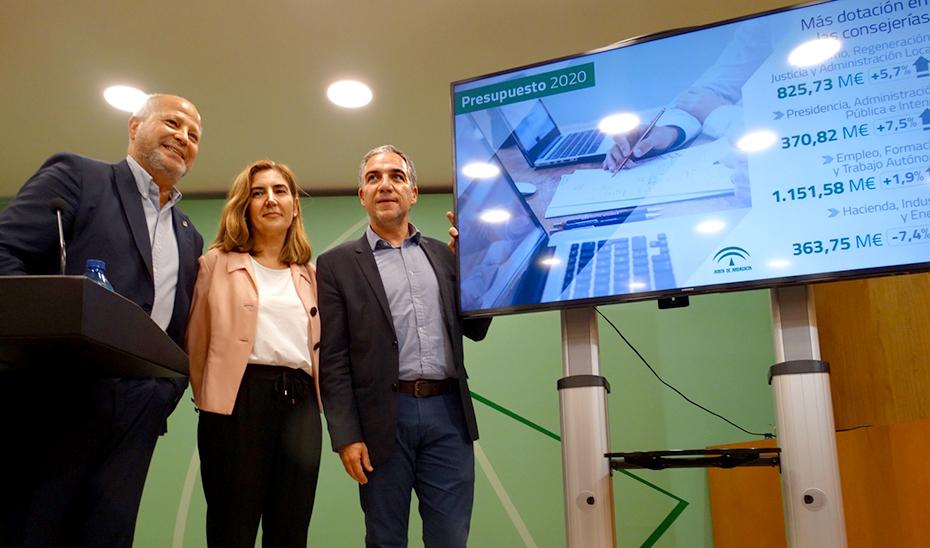 Los consejeros Imbroda, Blanco y Bendodo, en la presentación de los Presupuestos 2020 en Málaga.