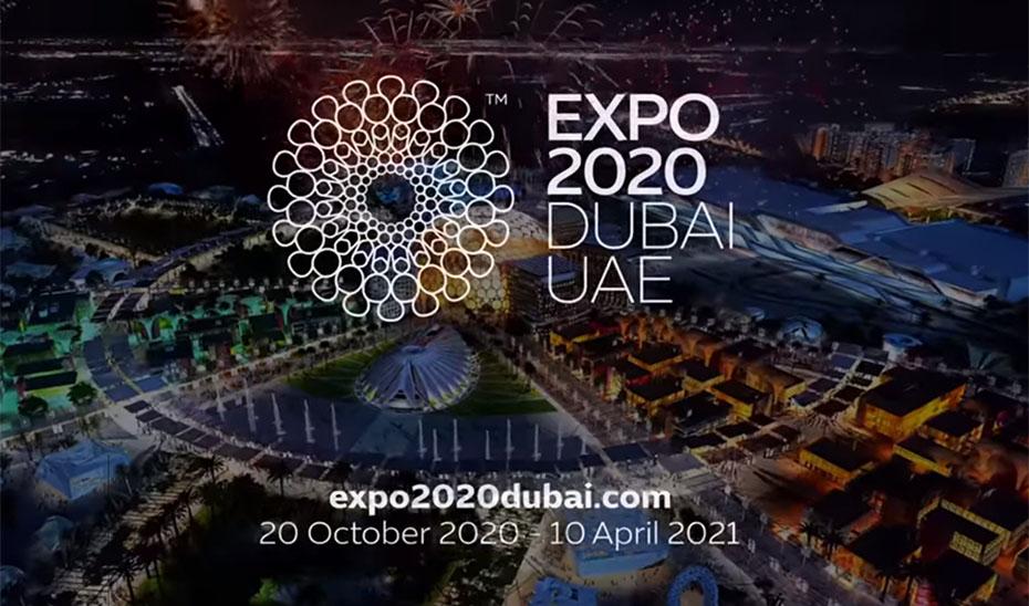 Cartel anunciador de la Exposición Universal de Dubái de 2020.