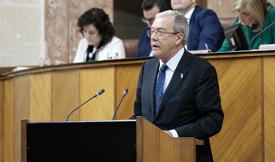 El consejero Rogelio Velasco, durante su intervención en el pleno del Parlamento.