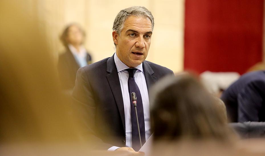 Elías Bendodo durante la sesión de Control al Gobierno.