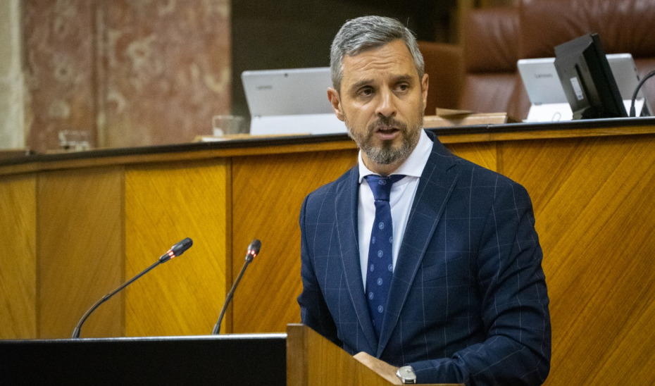 El consejero Juan Bravo comparece en el pleno del Parlamento de Andalucía.