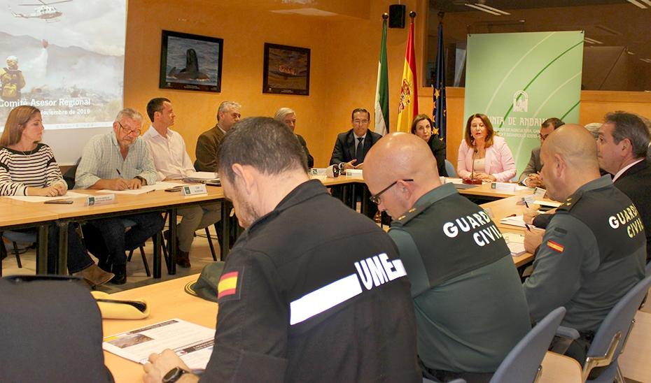 La consejera Carmen Crespo presidiendo la reunión de balance del Plan Infoca.