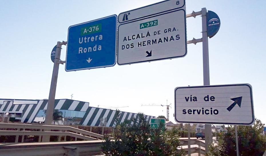 Obras en la carretera A-392, entre Alcalá de Guadaíra y Dos Hermanas.