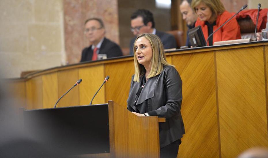 La consejera Marifrán Carazo, durante su intervención en el Parlamento de Andalucía.