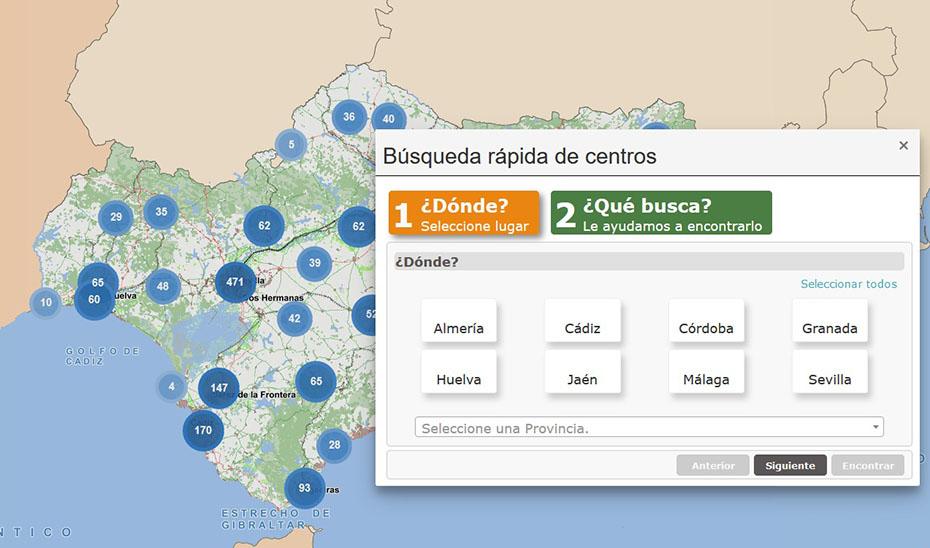Búsqueda de centros en el Mapa de Servicios Sociales.