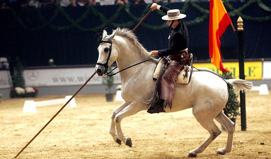 Exhibición en la Real Escuela Andaluza del Arte Ecuestre. (Foto EFE)
