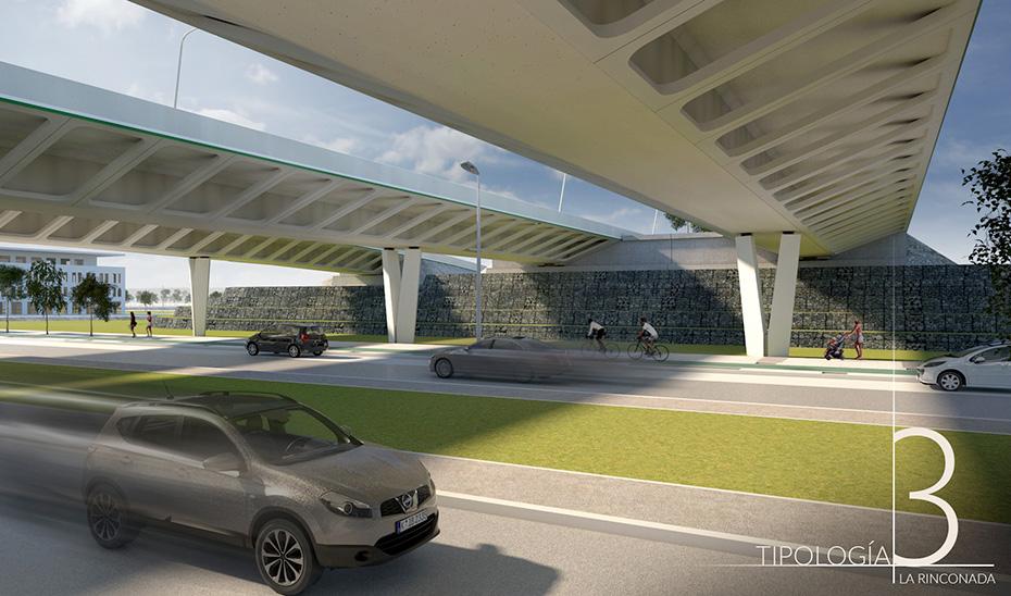 Recreación del viaducto que se construirá en la zona de Pago de Enmedio.