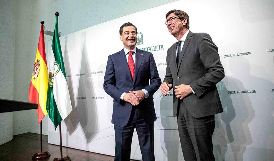 Comparecencia informativa de Juanma Moreno y Juan Marín tras la reunión del Consejo de Gobierno (vídeo íntegro)