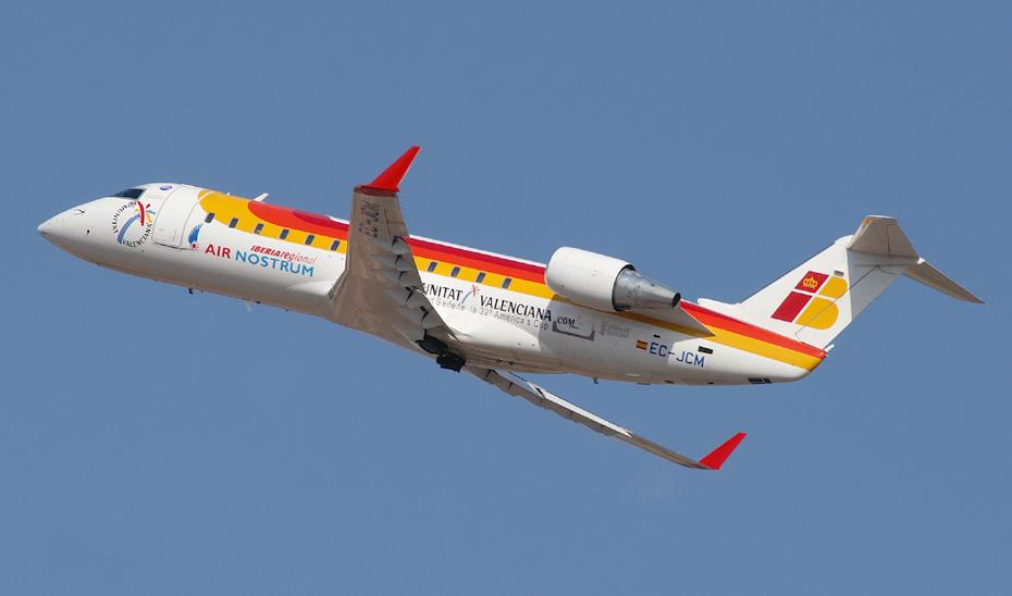Un avión de Air Nostrum, compañía que explota la línea aérea Sevilla-Almería.