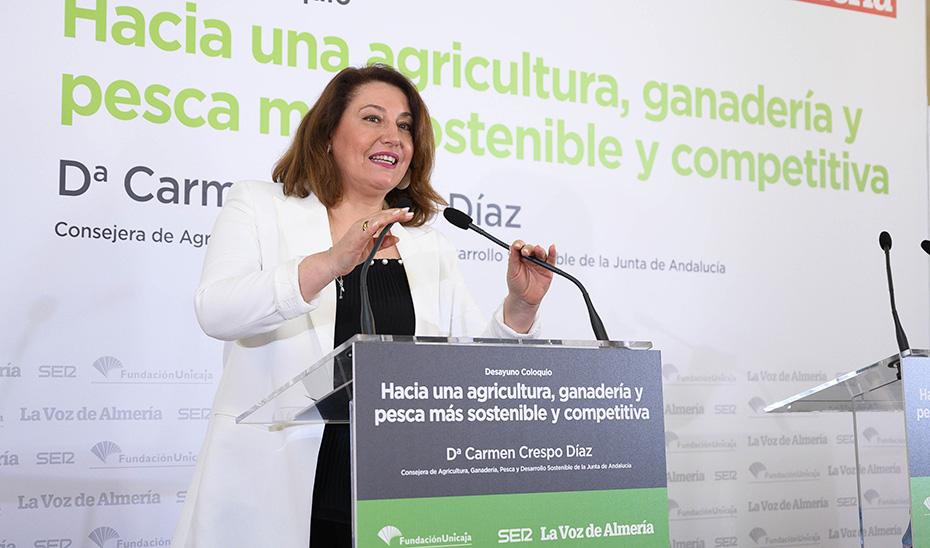 La consejera Carmen Crespo durante su intervención.