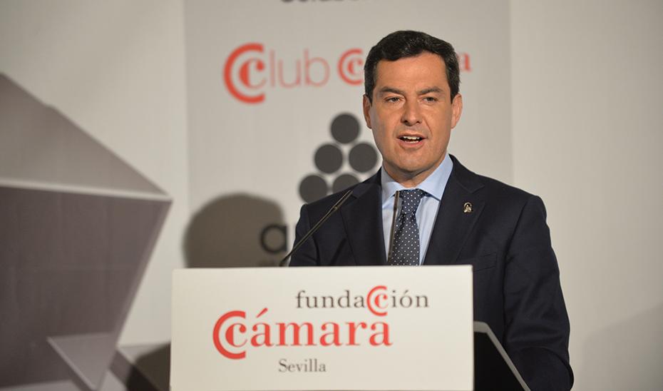 Intervención del presidente de la Junta, Juanma Moreno, en el Foro de la Fundación de la Cámara de Comercio de Sevilla